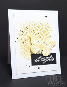 Happy Little Stampers, Kylie Purtell, Stencil, Texture Paste, Gold Ink, Embossed Butterfly, Butterfly Birthday, Thinking of You, Sympathy Card