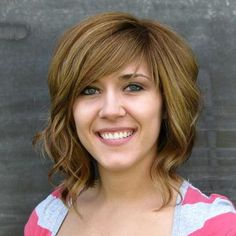 "med-short, wavy.  A little ""mom,"" but could be a good transition cut (minus the shorter fringe)"