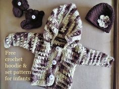 Free crochet baby patterns, crochet cardigans, hooded sweaters, crochet hats, and crochet booties