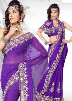 $115.48 -  Purple Chiffon Saree - This Saree is beautified with Diamond, Sequins, Stone, Cut Dana, Border Patch Work