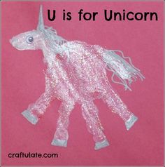 U is for Unicorn!  I love these handprint ideas for each letter of the alphabet.