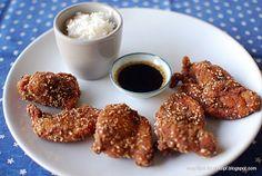 Udziki z kurczaka z sezamem w sosie sojowo-imbirowym