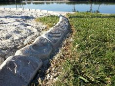 White concrete used to create this Custom Hand Carved Curbing.