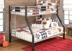 Ashley Dinsmore Twin/Full Bunk bed With 1 Full Mattress and 1 Twin Bunky Mattress Loft Bunk Beds, Metal Bunk Beds, Kids Bunk Beds, Corner Furniture, Kids Bedroom Furniture, Bedroom Decor, Bedroom Ideas, Twin Full Bunk Bed, Full Mattress