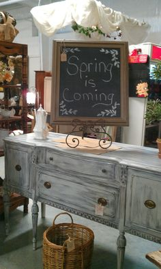 Dry brushed Paris Grey buffet, my booth @ Encore Resales