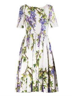 Dolce & Gabbana Wisteria-print pleated dress