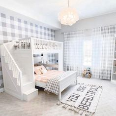 Who doesn't love buffalo check? Coordination on point here! Does this not make the perfect shared space? 😉 📷: @8blessedwilsons  #beddys #zipperbedding #zipyourbed #girlbedding #girlbed #beddysbeds #girlyroom #girlsroomdecor #girlsroom #girlsroominspo #girlsroominspiration #girlsroomdecoration #girlsroomstyling #girlystuff #bedding #beddings Room, Beautiful Nursery Room, Girly Room, Sibling Bedroom, Kids Room Rug, Zipper Bedding, Beautiful Rug, Bunk Beds, Kids Interior Design