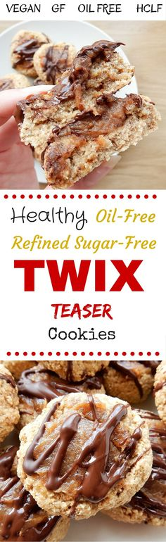 A Healthy Twix Cookie creation that is made on fruit and oats and filled with a sticky date centred caramel! You can enjoy these little Twix Teasers guilt-free knowing that they are vegan, oil-free, gluten free and have absolutely no refined sugars!