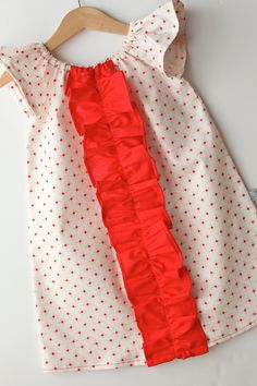 Pink & Red Dot Flutter Sleeve Ruffle Dress