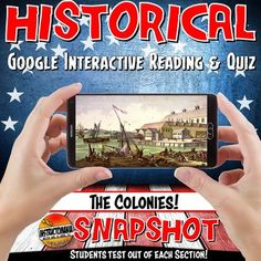 Google Classroom The 13 Colonies Snapshot Interactive Reading & Quiz