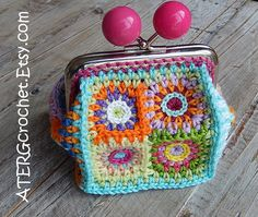Purse petite squares 'pink' by ATERGcrochet