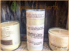 These bourbon flavored candles will light up any home or office! The sweet aroma fills any area with a delightful feeling. Stop in at #PeaceOfTheEarth!!