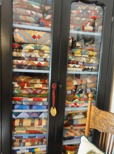 Cabinet full of quilts