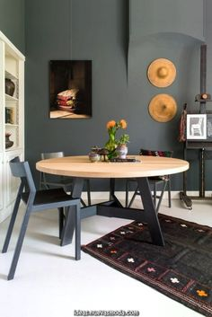 Furniture perfekte Esstisch-Design-Ideen Youll Love Improve Your Home Through Acoustical Enginee Dining Room Paint Colors, Dining Room Design, Farmhouse Dining Room Table, Round Dining Table, Dining Rooms, Esstisch Design, Kitchen Decor, Sweet Home, Room Decor