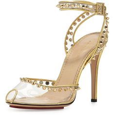 Charlotte Olympia Soho Studded PVC Ankle-Wrap Sandal (1,120 BAM) ❤ liked on Polyvore featuring shoes, sandals, heels, sapatos, platform sandals, high heel shoes, metallic sandals, metallic platform sandals and ankle strap heel sandals