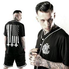 """Amerikunt"" Mesh Baseball Jersey & ""Monogram"" Striped Mesh Shorts Available at www.crmc-clothing.co.uk | WE SHIP WORLDWIDE Models - @ryan_davieshall Photography - @jt14photography #starsandstripes #basketball #summer #shorts #baseball #altfashion #alternative #instafashion #fashionstatement #fashiongram #fashionista #instastyle #stylegram #fashionoftheday #menwithtattoos #grungefashion #basketballshorts #styles #style #alternativeguy #alternativeboy #alternativegirl #alternativeteen…"
