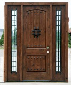 Rustic Exterior Doors with Sidelights - Knotty Alder Wood Doors Wood Entry Doors, Wood Exterior Door, Rustic Exterior, The Doors, Rustic Doors, Wooden Doors, Modern Exterior, Door Entry, Sliding Doors