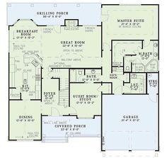 Craftsman Style House Plan - 4 Beds 3 Baths 2533 Sq/Ft Plan #929-24 ...