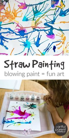 Blow Painting with Straws - Super Fun, Super Simple Art Idea for Kids! Blow painting with straws is simple yet lots of fun for kids of all ages. Use a straw to blow liquid paint around on paper, creating interesting designs.<br> Blow painting with straws is simple yet lots of fun for kids of all ages. Use a straw to blow liquid paint around on paper, creating interesting designs. Blow Paint, Crafts To Do, Kids Paint Crafts, Kids Arts And Crafts, Crafts For 3 Year Olds, Arts & Crafts, Pine Cone Crafts For Kids, Toddler Paper Crafts, Toddler Summer Crafts