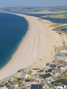 View of Chesil Beach from Portland, Dorset, England, United Kingdom