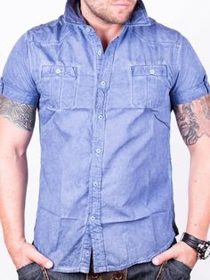 Camasa barbati Nature cu maneca scurta albastra Denim Button Up, Button Up Shirts, Men Casual, Mens Tops, Design, Fashion, Moda, Fashion Styles