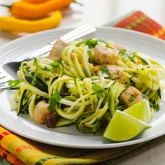 """3 large zucchini 1.5 lbs boneless & skinless chicken breasts, cut into 1"""" pieces 1/2 tsp cumin 1 tsp salt, divided 1/4 tsp ground black pepper 2 tsp any small hot pepper/jalapeño or to taste, seeded and minced (leave seeds in for very hot version) 1 medium or 1/2 large lime, juice of 3/4 cup cilantro, chopped Cooking spray (I use Misto)"""