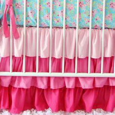 Light Pink Gradient Ruffle Crib Skirt by CadenLaneBabyBedding, $128.00