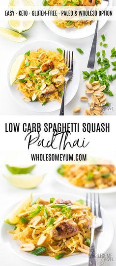 Low Carb Meals Keto Spaghetti Squash Pad Thai Recipe - The best spaghetti squash Pad Thai recipe ever! This low carb keto Pad Thai is super EASY to make, with loads of flavor and no sugar. Keto Foods, Keto Diet Drinks, Keto Food List, Ketogenic Foods, Vegan Keto, Vegetarian Keto, Vegetarian Italian, Low Carb Keto, Low Carb Recipes