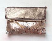 R O S E GOLD Sequin Clutch. Neutral Metallic Evening Clutch. Pink Quartz Pouch.. $68,00, via Etsy.