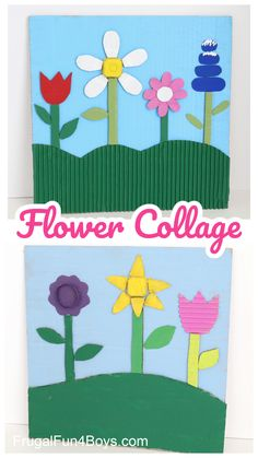 Cardboard Flower Collage - Frugal Fun For Boys and Girls Craft Projects For Kids, Crafts For Kids To Make, Craft Activities For Kids, Preschool Crafts, Stem Activities, Kids Crafts, Cardboard City, Cardboard Crafts, Glue Crafts