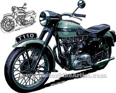TRIUMPH T110 vintage motorcycle drawing