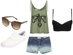 Great outfit for summer concerts. An army green tummy length top with tie sleeves and a tribal emblem. Paired with ombre wash jean shorts and a black crop top worn underneath. Topping off this simple look: plain white keds and cat eyed inspired leopard-rimmed sunglasses.