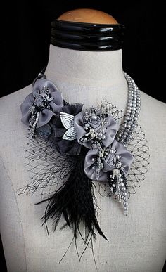 ARIANA Silver Black Statement Necklace Wearable ♥ by carlafoxdesign, $295.00