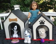 Medium Dog House For 18 In American Girl Doll Pets Boys And Girls Black Red…