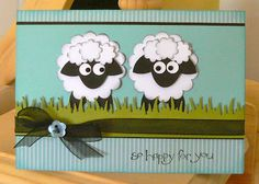 Punch art sheep - so cute! Kids Cards, Baby Cards, Sheep Cards, Punch Art Cards, Animal Cards, Cute Cards, Anniversary Cards, Greeting Cards Handmade, Homemade Cards