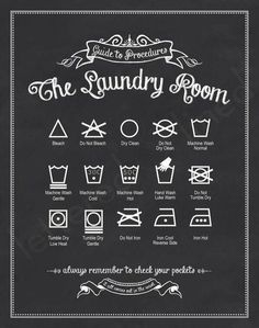 printable for the laundry room with most common care symbols and their meaning More