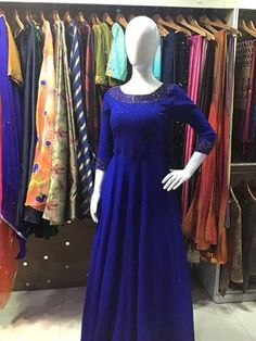 Embroidery On Kurtis, Hand Embroidery Dress, Kurti Embroidery Design, Beaded Embroidery, Churidar, Anarkali, Lehenga, Indian Gowns Dresses, Indian Fashion Dresses