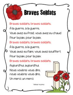 Remembrance Day poem in French ~ Braves Soldats. Recite this poem with your class or send it home to practice for Remembrance Day. You could post it in your classroom as well. Both colour and black and white copies are included. Remembrance Day Poems, Remembrance Day Activities, French Teaching Resources, Teaching French, Teaching Ideas, Brave, Veterans Day Poem, Poems About School, French Poems