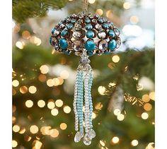 Blue Jeweled Jellyfish Ornament #potterybarn #CoastalChristmasDecorations