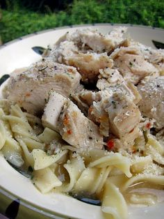 1 lb chicken breasts  1 packet Italian dressing mix  2 Tbsp butter  1/4 cup lemon juice  1/4 cup chicken stock  egg noodles or rice    Place chicken breasts, Italian dressing mix, butter, lemon juice & chicken broth in the crockpot.  Cook on low for 6-8 hours. When finished cooking, shred chicken with 2 forks. Serve chicken over egg noodles or rice and top with juices from crockpot.