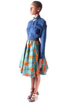 Red Bird-Mid-Length Skirt Midi | Zuvaa