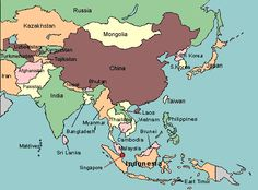 map of asia with countries labeled