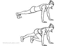 Mountain Climbers / Alternating Knee-ins   Place your hands flat on the floor, shoulder width apart. Extend your torso and legs fully behind you with only your toes and balls of your feet touching the floor. Your body should be in a straight line, with your weight supported on your hands and toes only. Starting with either leg, flex your knee and hip at the same time to bring your knee up and under your hip. Your other leg should remain fully extended. This is the start position…