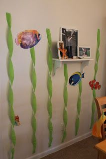 Crepe Paper seaweed for a fishing party - easy décor!