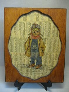 Wood Frame Aviator Little Boy Sketch On Wall Street Journal News Paper 1980 #PictureFrameSketchAviatorBoy #Unknown