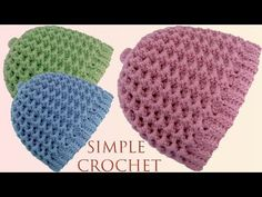Como tejer a Crochet Ganchillo un gorro tejido fácil en punto variante panal o nido de abeja 3D - YouTube Beanie Pattern Free, Crochet Beanie Pattern, Crochet Cap, Crochet Flower Patterns, Crochet Round, Easy Crochet, Crochet Flowers, Knitting Patterns, Crochet Ideas
