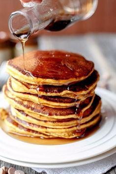 Cafe Delites | Caramel Chip Pumpkin Pancakes | http://cafedelites.com