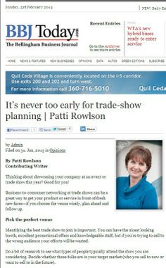 Trade show tips for 2013 and beyond - by Patti Rowlson #tradeshow #smallbusiness