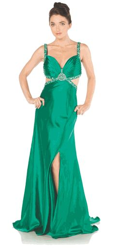 Emerald Prom Dress Long Back Open Side Cuts Beads Sequin Waist Gown