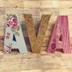 Shabby chic letters floral letters vintage nursery letters glitter dipped letters vintage baby block letters bohemian letters boho decor